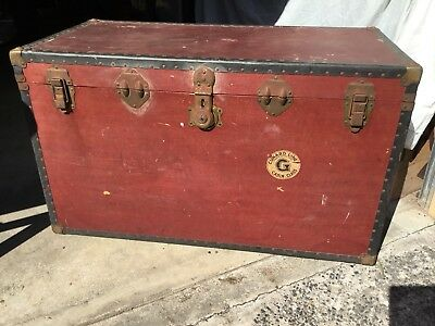 Large old wooden travel Trunk - Brass fittings -c1940