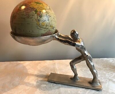 Metal Greek Atlas Holding Up The Earth Globe Man Statue Silver Chrome