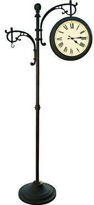 Large Outdoor Pedestal Clock Garden Thermometer Barometer Plants Chimes Hanger