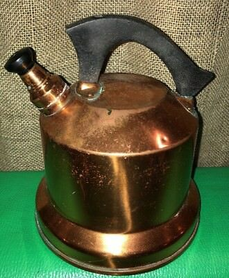 Vintage Rustic SOLID COPPER whistling Teapot Kettle WB West Bend Patina