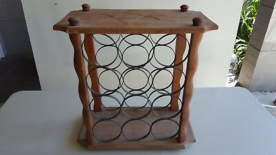 12 Bottle Wine Rack Holder Timber and wrought iron Display Shelf