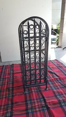 Wrought Iron Wine Rack With Lockable Door