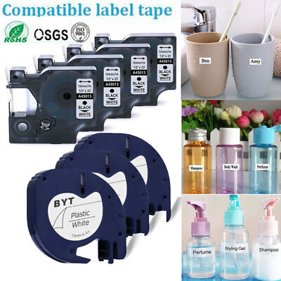 5x 9mm 12mm Plastic Black On Label Cartridge Tape For Dymo LetraTag 45013,91201
