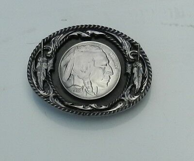 Belt Buckle American Indian Silver Dollar Heavy Large USA Made