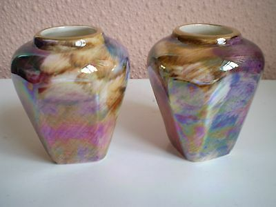 Oldcourt Ware Pottery - Pair of Small Lustre Vases - Made in England