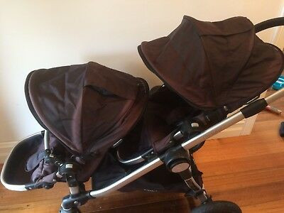 Used Baby Jogger City Select Double Stroller Pram with Bassinet and Hoods Black