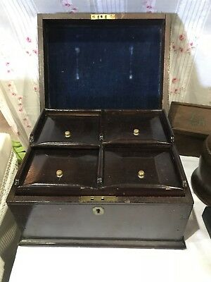 ANTIQUE Unusual Wooden Box With Pull Out Tray And 4 Compartments
