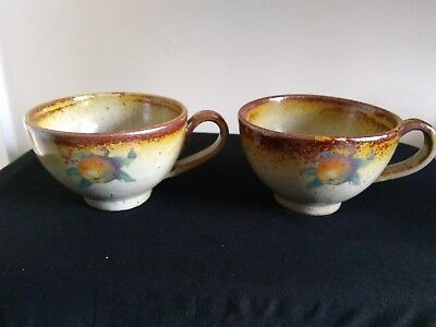 2 Rustic Traditional French Pottery Cider Cups Shabby Chic Vitnage Dining