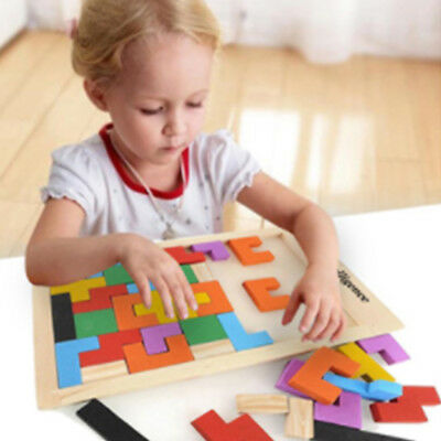 Creative Wooden Tangram Brain Teaser Puzzle Toys Tetris Game Educational Toy