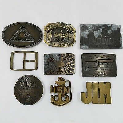 Lot of 9 Vintage Belt Buckles Collectible Busch USN Colt Revolvers Colorado