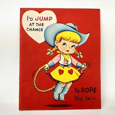 Vtg 40s 50s Valentines Card Cowboy Cowgirl Greeting Adorable and Sweet Heart