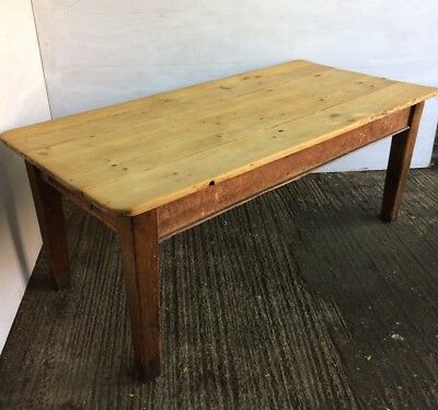 19th Century French Antique Pine Plank Top 6ft Farmhouse Family Dinning Table