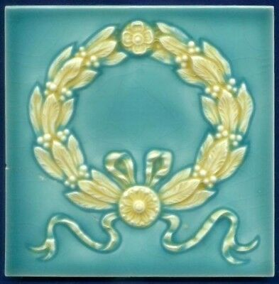 Jugendstil Fliese Kachel, Art Nouveau Tile, Wessel, Lorbeerkranz / Laurel Wreath