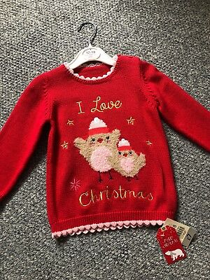 Baby girls gorgeous Red Christmas jumper 12-18 months Robins Party