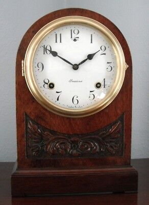 Old Antique Sessions Mahogany Cabinet Mantel Shelf Clock 1920 Fully Restored