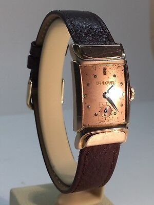 Bulova Art Deco Vintage 14k Rose Gold Filled Watch 17 Jewels 8AH 1940s Swiss
