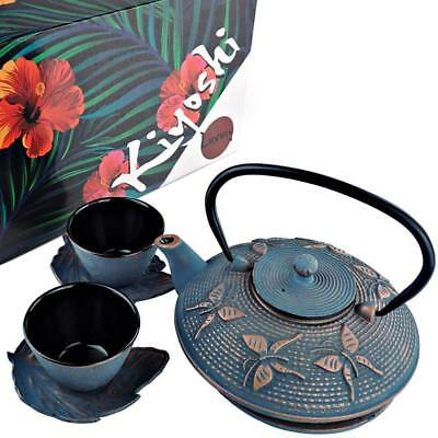 Japanese Iron Tea Set 7 Pieces - Blue and Red Gold color - by KIYOSHI Luxury