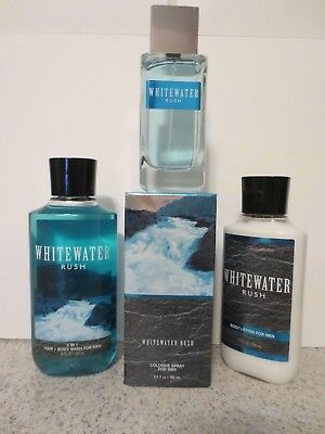 Bath & Body Works White Water Rush Set For Men Cologne, Hair/Body Wash & Lotion