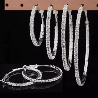 Silver Plated Hoops, Diamante / Diamonte, Big Round Earrings, Sparkle Bling UK