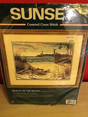 "Sunset Counted Cross Stitch Kit - BEAUTY OF THE BEACH - 14"" X10"" Sealed"