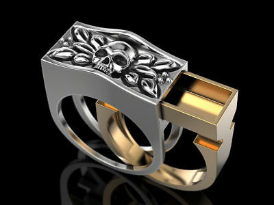 Secret Compartment Skull ring, Wax patterns for lost wax casting jewelry 1 pcs