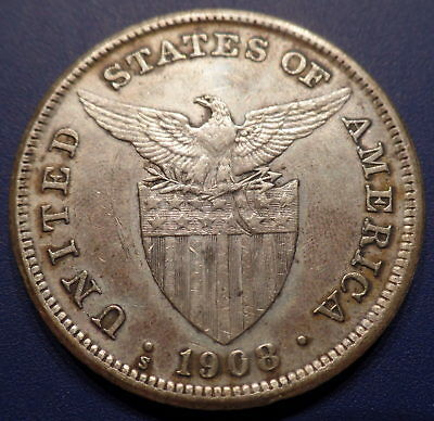 1908s US-Philippines 1 One Peso Silver Coin