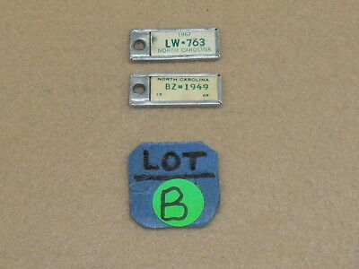 North Carolina DAV Keychain License Plate Tags Dated 1967 & 1969 - NR - B