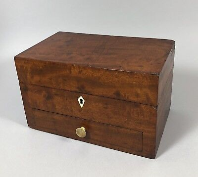 Antique Victorian mahogany stationery box with drawer turned handle trinket case