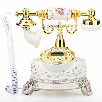 Old style  Classical Ceramic Desk Telephone Vintage Button Dial Retro