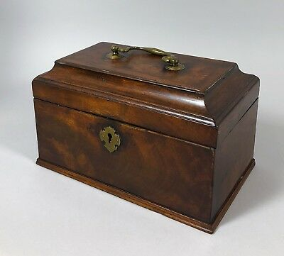 Antique George III mahogany tea caddy cavetto lid brass fitting jewellery box
