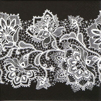 4x Paper Napkins for Decoupage - Gloria Lace White on Black