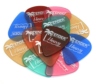 (12) Fender Heavy Guitar/Bass Picks California Assorted Colors 098-1351-900
