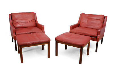 Danish Lounge Chairs in red leather with Stools (1060)