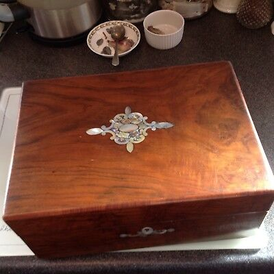 Victorian walnut sewing box  and contents has mother of pearl