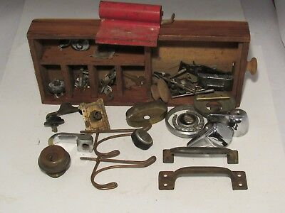 Box Lot of Antique Hardware READING Lock Hot Cold Handles Window Sash Handle etc