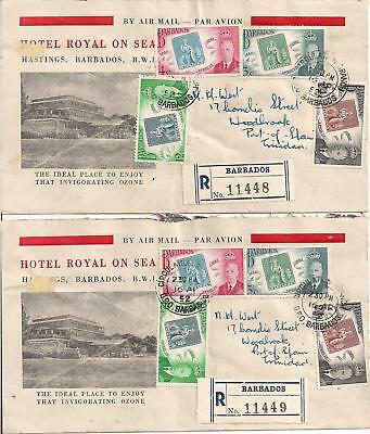 Barbados - 1952- Hotel Royal Cover x 2 - Registered