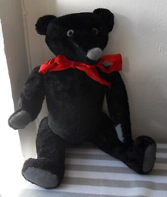 Beautiful Vintage Antique Articulated TEDDY BEAR, Hump, Growler, Black