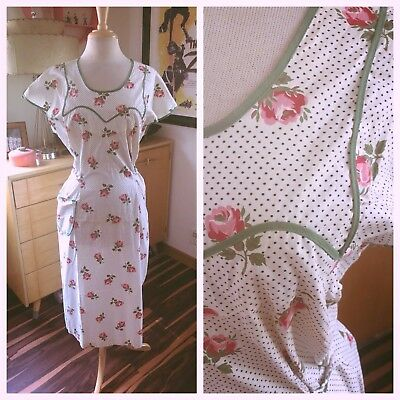 Vintage 1940s Dress Pink Floral White XL 2XL Swing Pinup Rockabilly 40s 1930s 30