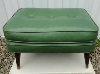 Stupendous Mid Century Modern Ottoman Bench Foot Stool Green Tapered Creativecarmelina Interior Chair Design Creativecarmelinacom