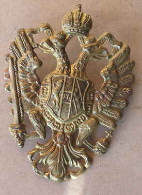 Antique Austrian Hungarian Brass Double Headed Eagle / High Shako