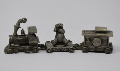 Collectible Coca Cola 3 piece Pewter Train, Engine, Bear, and Caboose