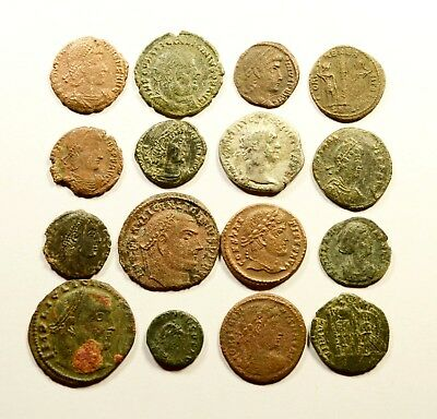 Lot Of 16 Imperial Roman Bronze Coins For Identifying - 049