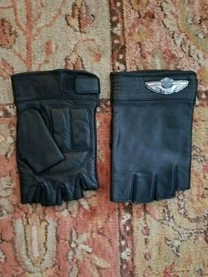 Men's Harley Davidson 100th Anniversary Fingerless Leather Gloves Size Xsmall