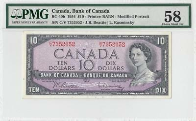 "1954 BANK OF CANADA QEII $10 ""Rasminsky"" **Consecutive 2 of 2** (( PMG 58 ))"