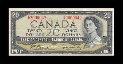 1954 BANK OF CANADA QEII $20 **Beattie & Rasminsky** (( EF ))