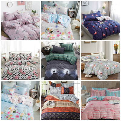 Duvet Cover with Pillow Case Quilt Cover Bedding Set Single Double King & S.King