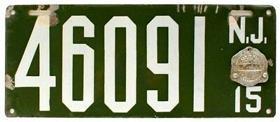 New Jersey 1915 Porcelain License Plate with Badge, 46091, Antique, Garage Sign