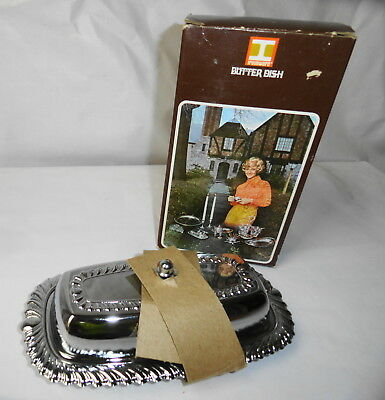 Vintage Irvinware Stainless Steel/ Chrome Butter Dish With Glass Insert Nos
