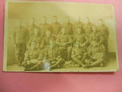 WW1 Soldier group with small toy dog mascot RPPC