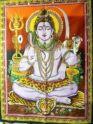 """Hindu God Shiva """"trimurti-The Destroyer"""" Sequins Wallhanging/tapestry 1Bl/3 Red"""